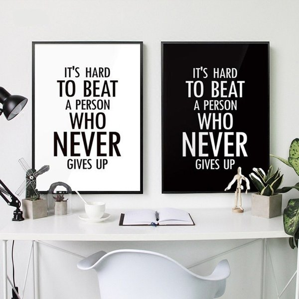 2019 Black White Multicolor Nordic Minimalist Typography Never Gives Up Quotes Art Print Poster Nursery Wall Picture Canvas Painting Boy Kids Roo From