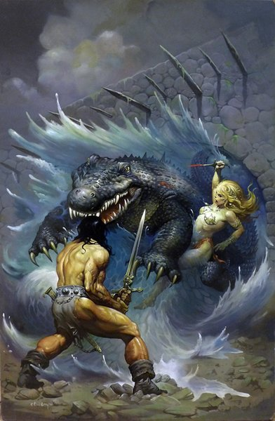 Fantasy Art Warriors Fight The Dinosaur,Oil Painting Reproduction High Quality Giclee Print on Canvas Modern Home Art Decor