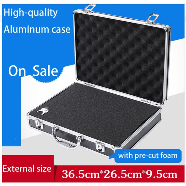 aluminium tool case toolbox file storage hard carry tool box hand gun locking pistol with foam lining 345*245*75mm thumbnail