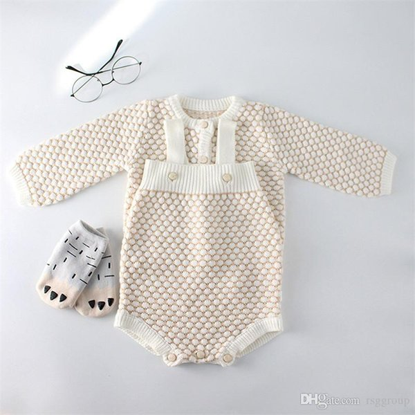 INS Fall New Toddler Baby Girls Sweater Rompers Cotton Blank Sleeveless Jumpsuits Long Sleeve Coat Newborn Autumn Bodysuits