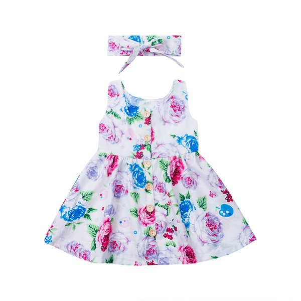 Low Price 6M-3T Toddler Kids Baby Girl Clothes Sleeveless Floral Summer Dress Girls Match Headband Button Infant Girl Sundress