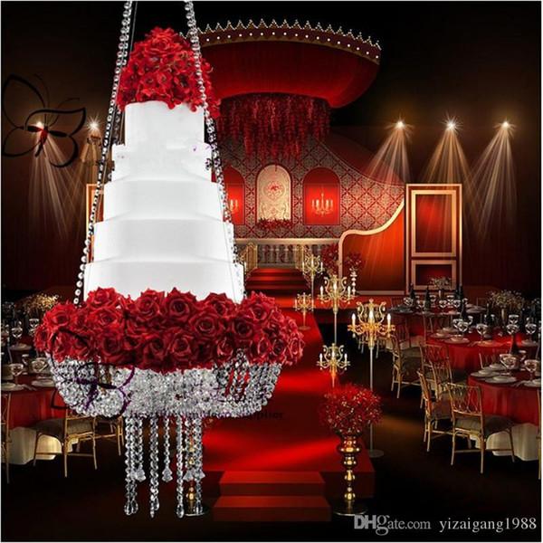 Bolo redondo lustre de cristal D60 ficar pendurado com mesa de bolo de cristal frisado para o casamento decoração festa de aniversário