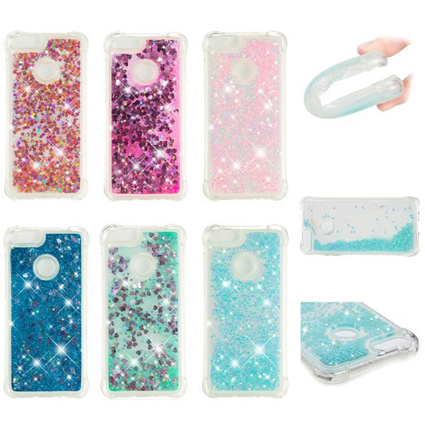 Soft Fashion Love Heart Quicksand Liquid Glitter Silicone Phone Case for Huawei Honor 9i Huawei Enjoy 7s Air Cushion Corner Shockproof 05