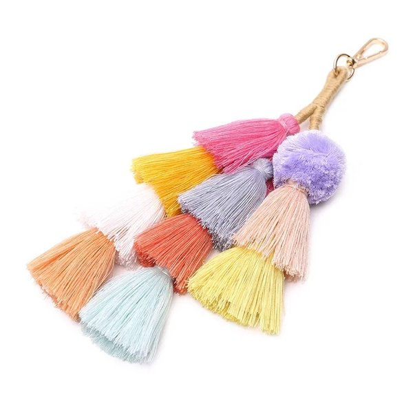 2019 spring and summer new creative models European and American fashion bohemian style color tassel bag pendant handmade keychain accessori