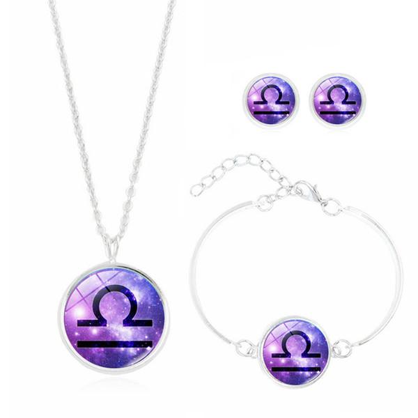 Il set di 12 costellazioni di gioielli con cabochon in cristallo Ciondolo, collana, orecchino e bracciale modello zodiaco argentato