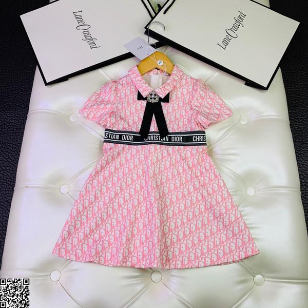 Le ragazze vestono abiti firmati per bambini abito in poliestere Abito a maniche corte con lettera di moda autunnale Taglia elegante e confortevole 100-150 cm