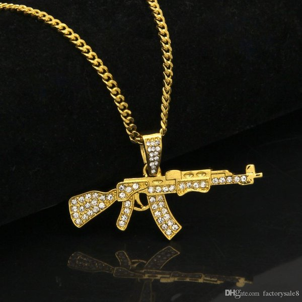 """Mens 18k Gold Silver Plated Iced Cz Hip-Hop AK-47 Gun Pendant Necklace 3mm 24"""" long Cuban Chain Necklace Fashion Jewelry Christmas birthday"""