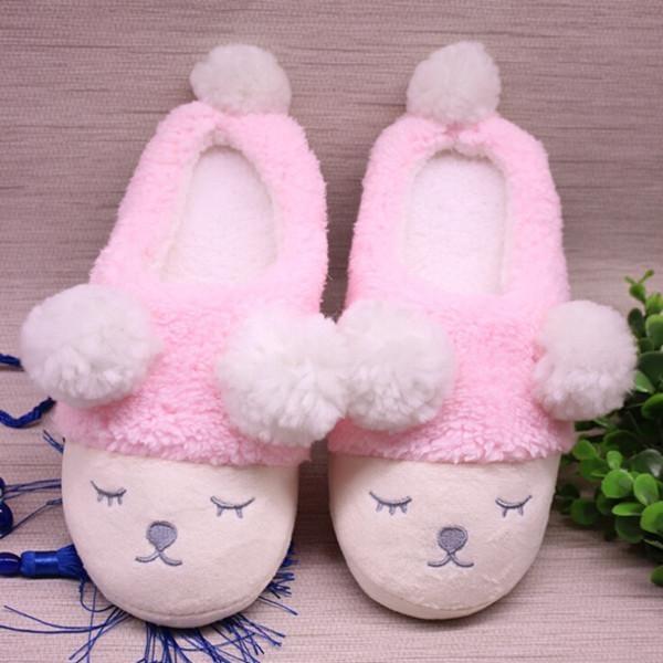 Bigsweety Women Home Slippers Cute Sheep Animal Slippers For Couple Indoor Bedroom Female Shoes Winter Short Plush Slipper