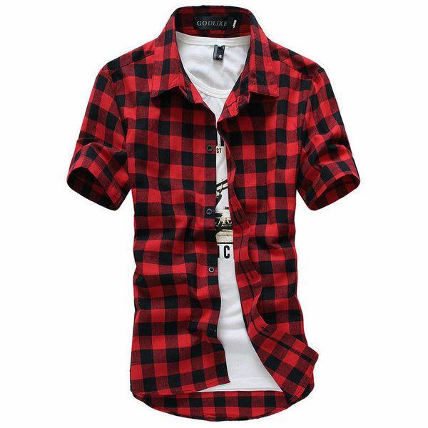 2019 Yeni Moda Erkek Yaz Gündelik Elbise Gömlek Erkek Ekose Kısa Kollu Gömlek Erkekler Kısa Kollu Casua Gömlek M-3XL Tops
