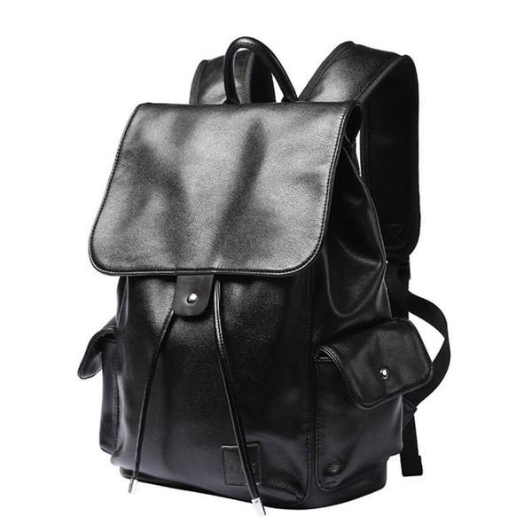Boys Vintage Pu Leather Men Backpacks Simple Design Ladies Black Color Travel Back Bags Male Teenage Rucksack Mochila