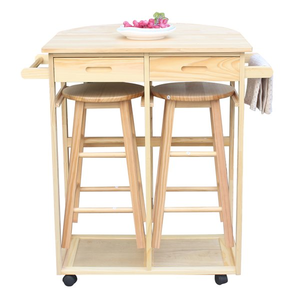 2019 Kitchen Island Trolley Cart Dining Breakfast Table Set Folding Table  Drop Leaf Home Wood Furniture With 2 Stools And 2 Drawers From Jessielmy,  ...
