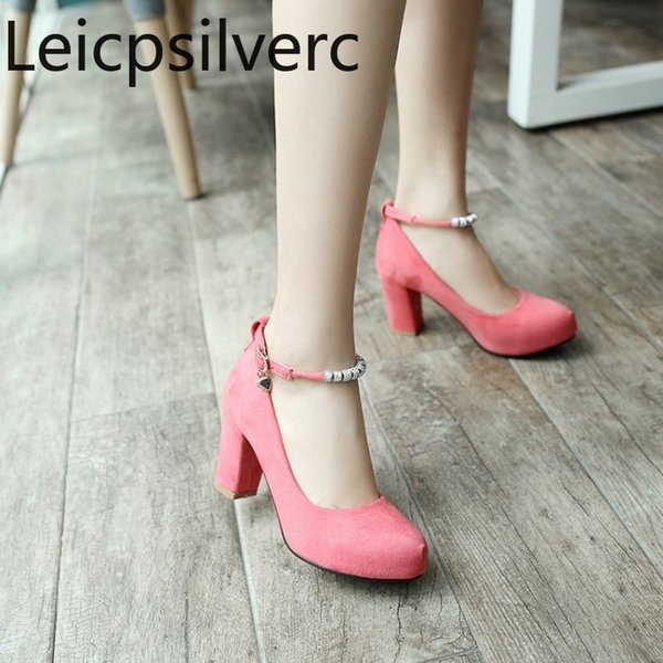 Spring and autumn The New Flock Round head Shallow mouth Buckle String Bead Crystal Thick heel High heel Women's shoes 34-39