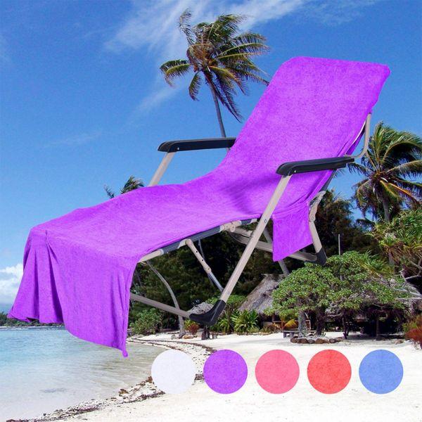 Yaz Çift Katmanlı Mikrofiber Plaj Havlusu Plaj Sandalye Kapak Depolama Cepler ile renk Şezlong Şezlong Kapak renk 2019 Yeni