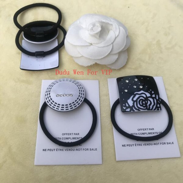 Luxury designer Hair Tie camellia fashion hair Accessories engrave CC Acrylic Hair Rope round or square with vip card party gift