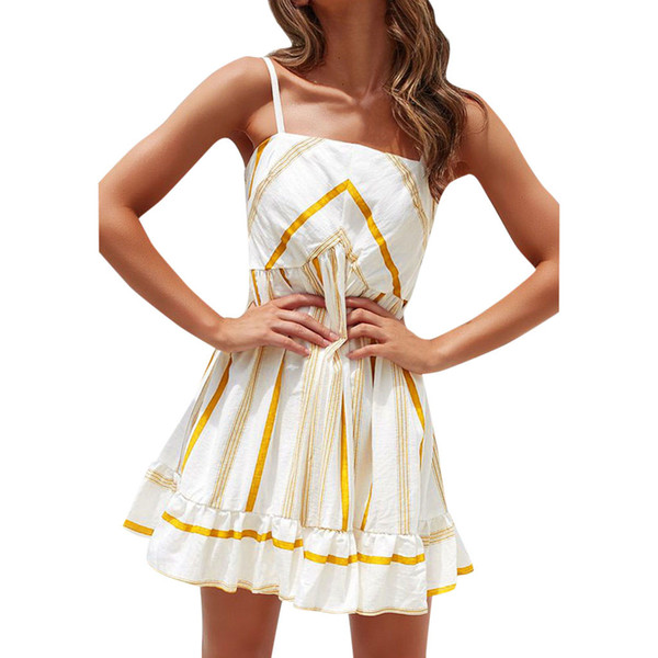 Summer Party Sexy Fashion Dress Women Holiday Striped Print Sleeveless Elegant Party Sling Beach Dresses Women Clothes 2019