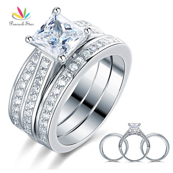 Звезда павлина 1.5 Ct Принцесса Cut Solid 925 стерлингового серебра 3-х обручальное обручальное кольцо комплект ювелирных изделий Cfr8197 J190716