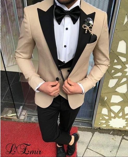 Terno 2019 Slim Fit Ternos do casamento dos homens para homens Khaki Blazer preto lapela Formal smoking noivo Groomsman Prom Party Suit 3 peça