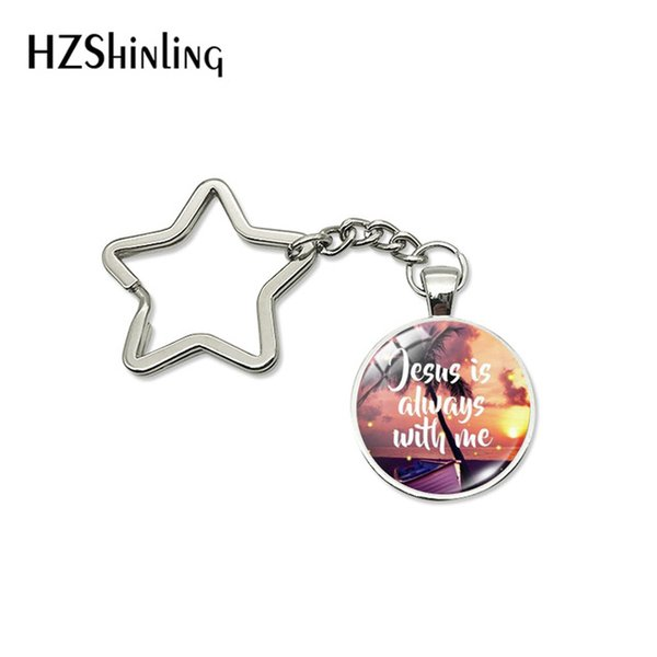 New Arrival GOD WITH US Star Key Fob Jesus Love You Key Ring Jesus Is Always With US Car Bag Holder Gifts for Christians