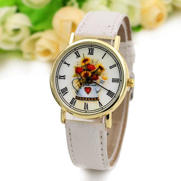 Moda bule relógio vaso Arranjo de flores senhoras relógio romano cinto esculpido relógio feminino