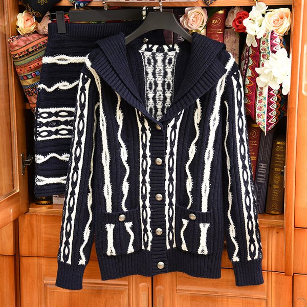 2019 Spring Luxury Striped Print Knitted Sailor Collar Highstreet Cardigans Long Sleeve Casual Wool Blend Sweaters + Skirt Set 18157lZ07