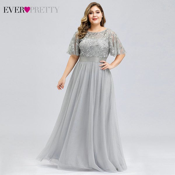 plus size sequined evening dresses long ever pretty a-line o-neck tulle elegant formal evening gowns vestido noche elegante 2019, White;black
