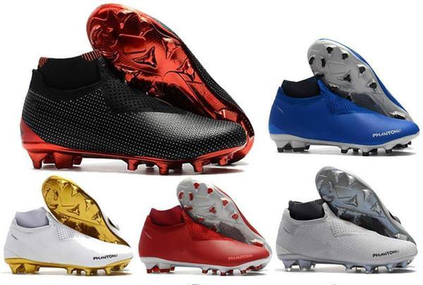 New Phantom Vision Elite DF FG Soccer Cleats For Men Soccer Shoes Mens Socks Laceless Phantom VSN High Ankle Football Boots Size 39-45 C201
