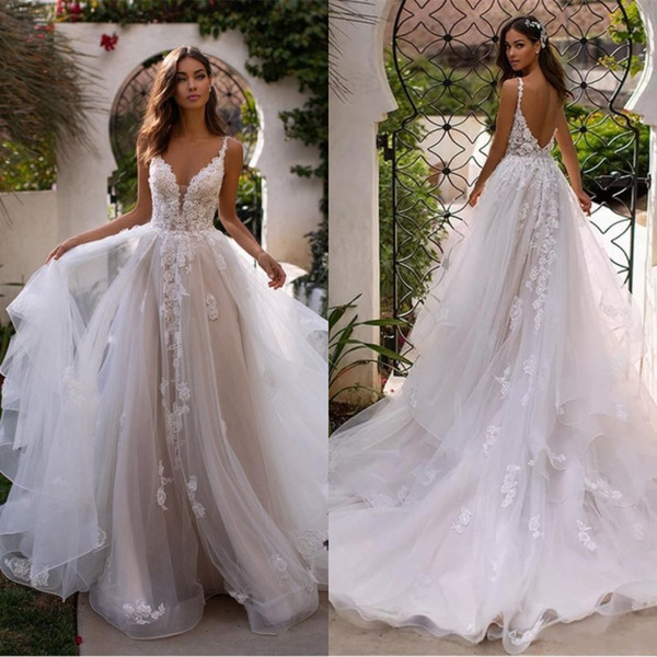 Elegant Spaghetti Straps Lace A Line Wedding Dresses 2020 Tulle