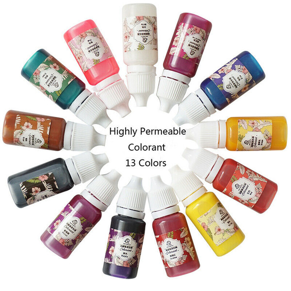 top popular 2020 HOT 13 Bottles 10g Practical Epoxy UV Resin Coloring Dye Colorant Pigment DIY Handmade Craft Supplies Mix Colors 2021