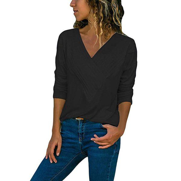 Camicette da donna invernali Solid V-collo Casual Wrap anteriore Scollo a V Manica lunga Loose Fit Basic Girl Camicetta camicia Top poliestere a righe