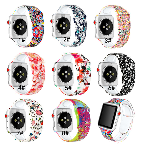 Strap for apple watch band apple watch 4 3 iwatch band 38mm 42mm 44mm 40mm correa bracelet Sport Silicone Printing series 4