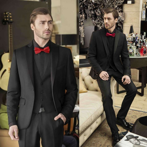 Three Pieces Black Mens Suits Wedding Tuxedos Suit Groomsmen Formal Jackets Sets Business Leisure Wear For Party (Jackets+Vests+Pants+Tie)