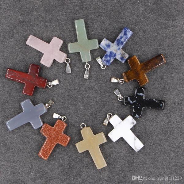 24 colores de piedra natural collares pendientes de cruz con cadenas de cuero ágata malaquita cristal de cuarzo ópalo colgantes