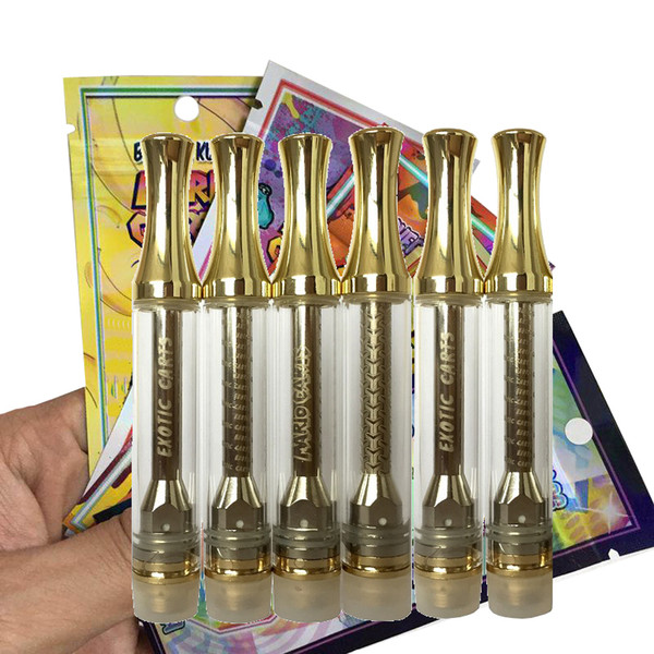 Cartucho holograma Mario Carros Carros exótico AC1003 Oro 1,0 ml de Vape con el logotipo tenga fugas Cearamic bobina 510 cartuchos de grueso Aceite