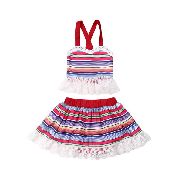 New Baby Girl Two Piece Set Kids Clothes Strsp Lace Tank Tops Tutu Skirts Dress Newborn Girl Children Sweet Party Outfit Clothes