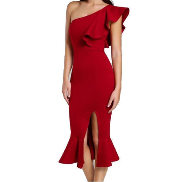 vendita all'ingrosso donne eleganti abiti da cocktail una spalla aderente vestito obliquo spalla increspatura laterale cocktail partito fessura