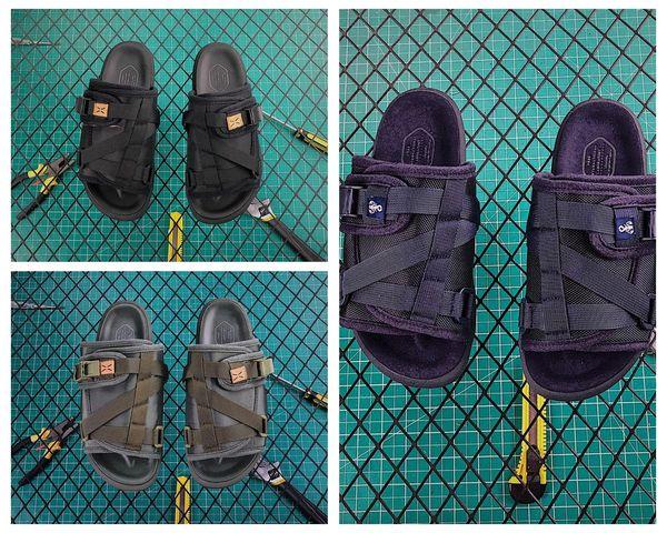 201V nylon VisVim x SOPHNET. Christo Designer Shoe Semelle Goodyear Toboggans Pantoufles Summer Beach Tongs House Sandales avec boîte