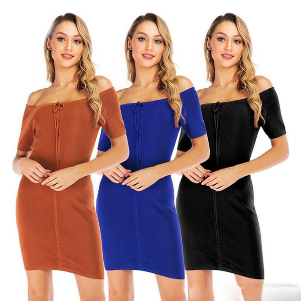 2019 Sonbahar Güz Kadın Ince Örgü elbise Off-omuz Avrupa ABD tasarımcı elbiseler kadın giyim Ücretsiz DHL Yüksek kalite Sıcak satış
