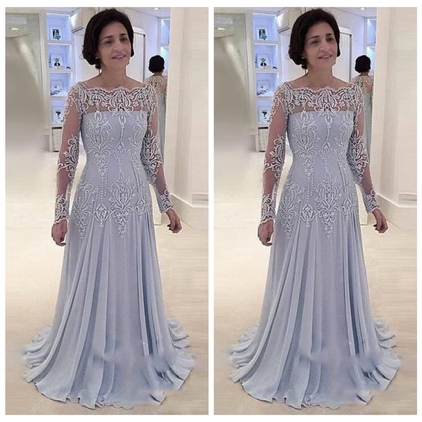 2019 Mother Of Bride Dresses Boat Neck Long Sleeve Applique Lace Satin Floor Length Plus Size Formal Party Cocktail Dress Evening Gowns