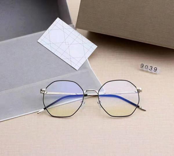 Hot DR 5 Colors Eyeglasses For Women Anti-blue light Clear Lenses Round Full-Rim Frame with full package 9039