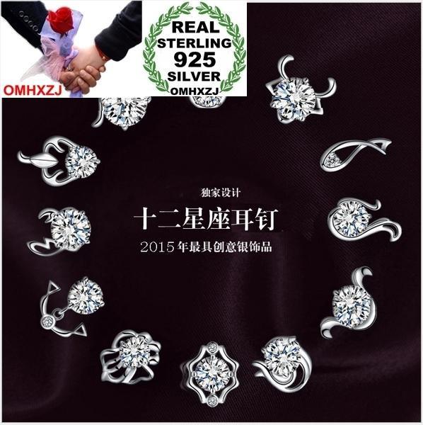 OMHXZJ WHOLESALE 패션 보석 동물 12 별자리 중국어 조디악 황소 자리 레알 REAL S925 스털링 실버 스터드 귀걸이 YS76