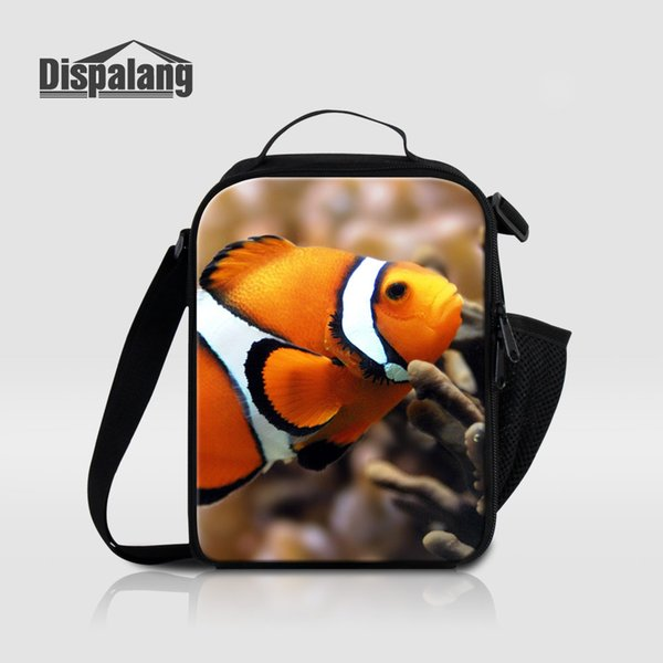 Dispalang Portable Lunch Bags For Children Cute Amphiprion Nigripes Printing Canvas Cooler Bag Kid Insulated Lunchbox For School
