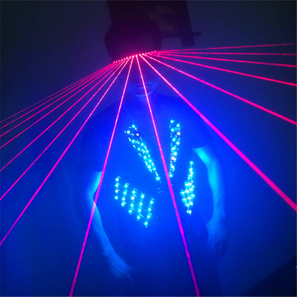 T17-1 Красочный свет бальные светодиодные костюмы RGB свет танец носит сценические костюмы DJ одежда светодиодный жилет лазерные очки диско подиум