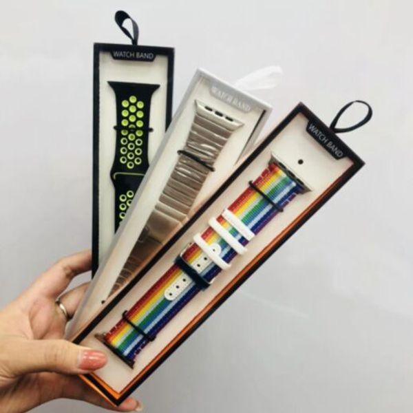 Universal faixa de relógio inteligente pacote de varejo para iWatch caixa de cinta hot fashion pacote simples caixa de pulseira para apple watch