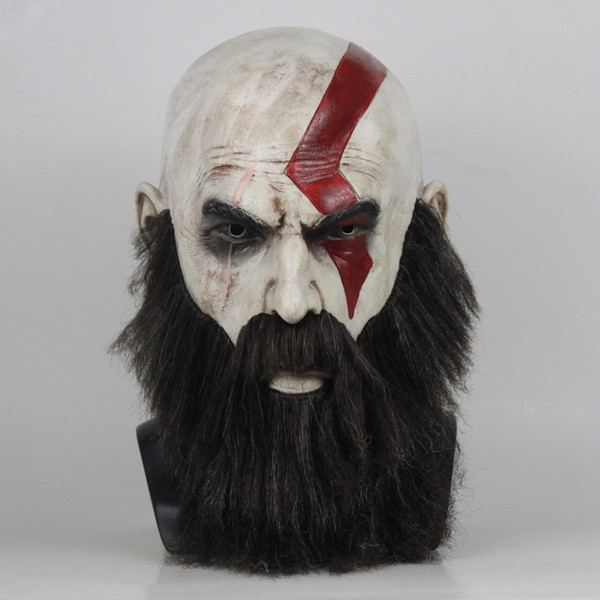 Spiel God of War 4 Maske mit Bart Cosplay Kratos Horror Latex-Masken Helm Halloween Scary Partei Props Adult