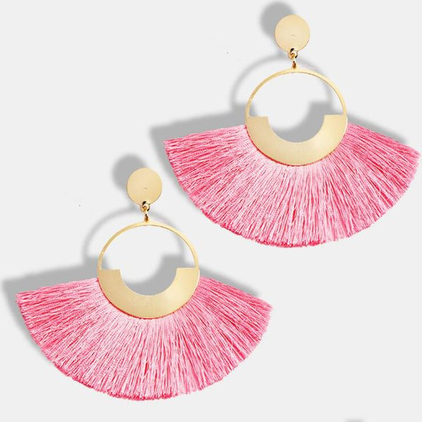 heap Drop Earrings KMVEXO New Design Women Tassel Earrings 2018 Brincos Boho Statement Fringe Earings Metal Fan Shape Dangle Earring Mode...