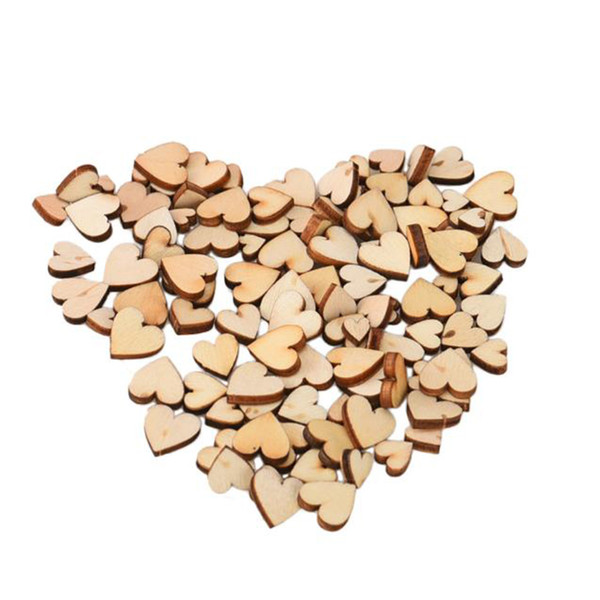 Pack Rustic Wood Wooden Love Heart Wedding Table Scatter Decoration Crafts Diy Handmade Diy Imitation Wood Love Jewelry Lights For Wedding