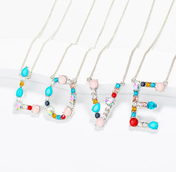 New Arrival Fashion 26 Inital Letter Name Pendants Necklace For Women With Colorful Crystal A-Z Alphabet Necklace Jewelry