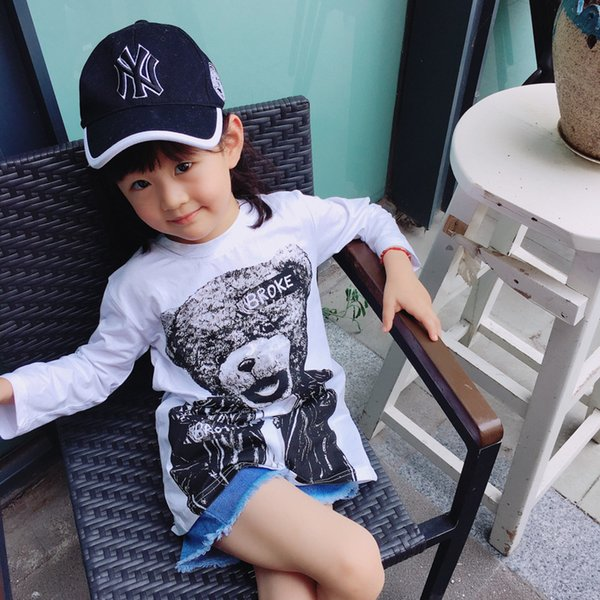 Kids girls spring autumn t shirts baby cartoon bear printed white cotton t-shirt casual all match clothes children tops 1-7 year