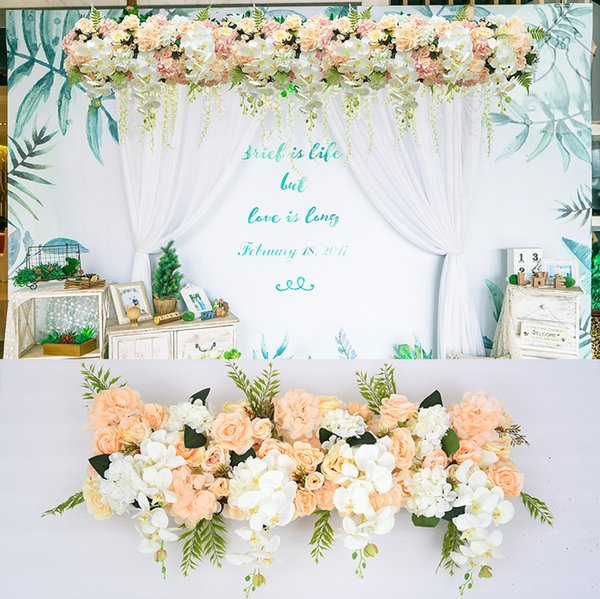 50 cm fila di fiori fai da te Acanthosphere Rose Eucalyptus decorazioni di nozze fiori rosa peonia ortensia pianta mix fiore arco fila di fiori artificiali