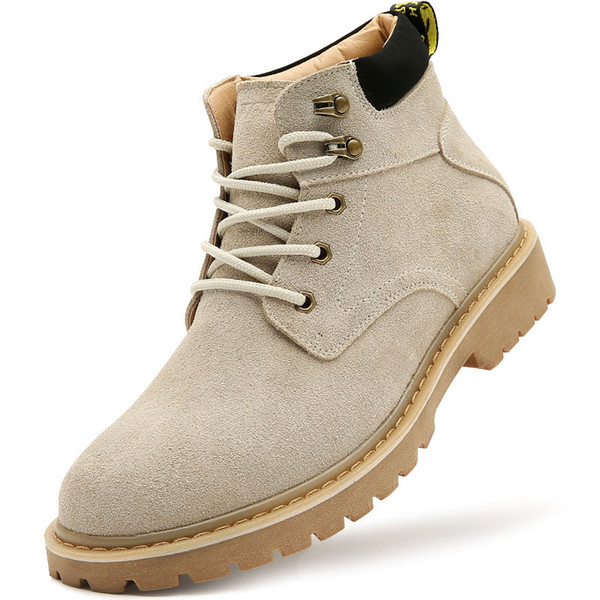 2019 TBA 4800# Men's British Trend Warm Casual Boots sand-coloured Split with Flock Upper Muscle Outosle Male Walking Shoes size 38-44